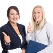 successo bussineswomen thumbs up e sorridente su bianco — Foto Stock #36727801