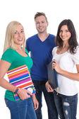 Three caucasian isolated people like students - team, teamwork. — Stock Photo