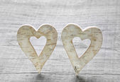 Two wooden hearts for valentines day. — Stockfoto