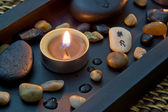 Candlelight with Chinese characters — Stock Photo