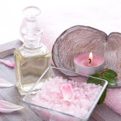 Massage Oil with Candle — Foto Stock