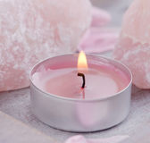 Candle and quartz — Stock Photo