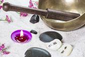 Candle and bath salt — Stock Photo