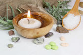 Candle and bath salt — Stock Photo
