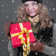 Woman in winter clothes with gift box — Stock Photo #37438123