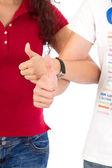 Mężczyzna i kobieta z kciuki — Zdjęcie stockowe