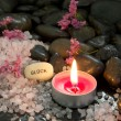 Candle, salt and stones. Luck - Relax and Enjoy — Stock Photo