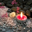 Candle, salt and stones. Mut - Courage - Relax and Enjoy — Stock Photo