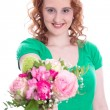 Woman with flowers on Mother's Day — Stock Photo #37882395