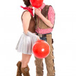 Young couple in carnival costume kiss - isolated on white backgr — Stock Photo #38918697