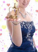 Golden crown of a carnival princess or queen — Stock Photo