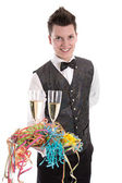 Portrait of a young butler or servant with glasses of champagne — Stock Photo