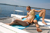 Couple on honeymoon on a sailboat — ストック写真
