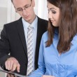 Business man and woman working together - Meeting at office — Stock Photo