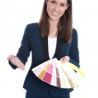 Interior design: business woman is presenting different colors o — Stock Photo #39015415