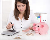 Young woman or teenager with money problems - concept for liabil — Stock Photo