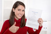 Teenager which his first contract for an job - german text — Stock Photo
