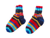 Isolated colorful knitted socks — Photo