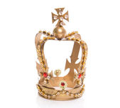 Isolated golden crown on a white background — Stock Photo