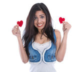 Young woman holding two hearts. — Stock Photo