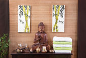 Traditional decoration in a spa massage in thailand with buddha — Stock Photo