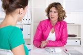 Two woman in a business meeting or interview. — Stock Photo