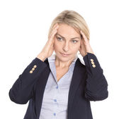 Isolated stressed mature woman with headache on white.  — Stock Photo