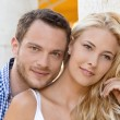 Young attractive couple amorous: portrait of summer vacation. — Stock Photo