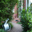 Close up from a paved path with house facade and watering can. — Foto Stock