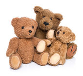 Three teddy bears isolated on white - concept for happy family. — Stock Photo