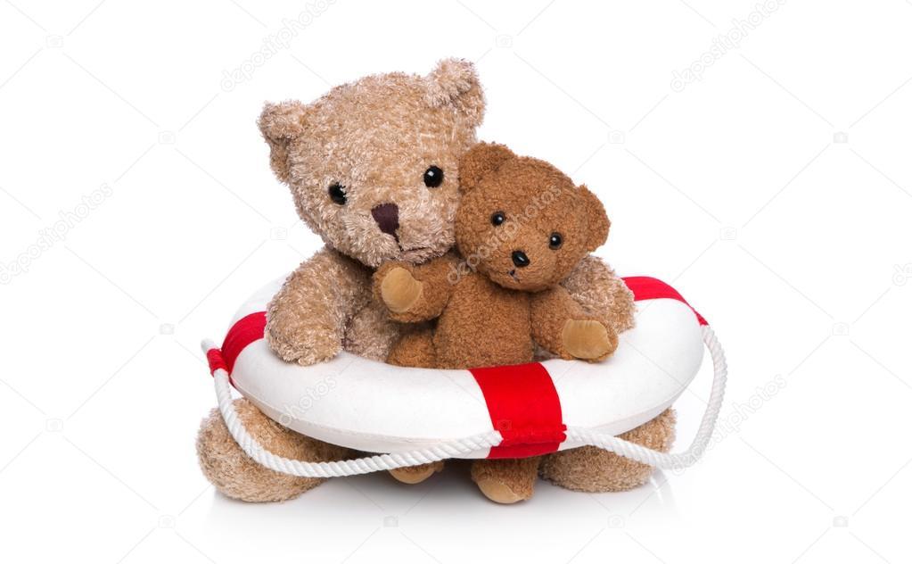 zwei teddyb ren mit rettungsweste isoliert auf weiss konzept f r sw stockfoto 41499687. Black Bedroom Furniture Sets. Home Design Ideas