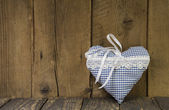 Blue checked heart - symbol for love — Stock Photo