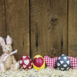 Rustic easter wooden background for a greeting card with eggs, h — Stock Photo #42048091