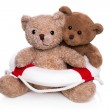 Concept for teamwork - two isolated teddy bears with a lifebelt. — Stock Photo #42393661
