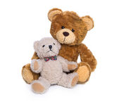 Toy plush teddy bear isolated: mother with her baby. — Stock Photo