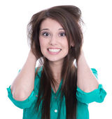 Desperate young woman isolated on white - hair problems. — Stock Photo