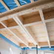 Heat isolation in a new prefabricated house with mineral wool an — Stock Photo