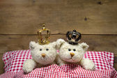 Two beige teddy bears lying in checkered bed with crowns.  — Stock Photo