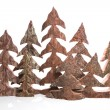 Group of wooden handmade christmas trees - handicrafts. — Stock Photo