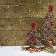 Two christmas trees with red christmas decoration. — Stock Photo