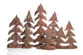 Group of wooden handmade christmas trees - handicrafts. — Zdjęcie stockowe
