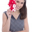 Isolated woman holding a present with red hearts. — Stock Photo #44952819