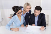 Successful business team - academics with female senior manager — Stock Photo