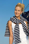Portrait of a pretty sailing woman. — Stockfoto