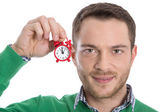 Time is running - overworked manager must do something. — Stock Photo