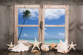 Summer holidays on the white sand beach - sea view. — Stockfoto