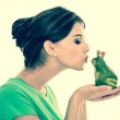 Story of frog king - young woman in love concept. — Stock Photo #46112781