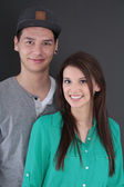 Portrait of a happy young teenager couple in love. — Stock Photo