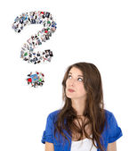 Young isolated woman with question mark. Concept for a dating po — Stock Photo
