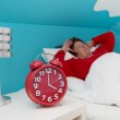 Senior woman in bed ill and suffered of sleeplessness or insomni — Stock Photo #46677205
